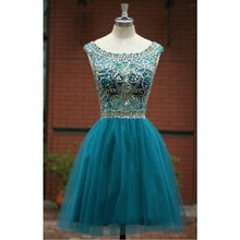 Blue Homecoming Dress,Short Prom Gown,Tulle Beads Open Back Homecoming Gowns PM910