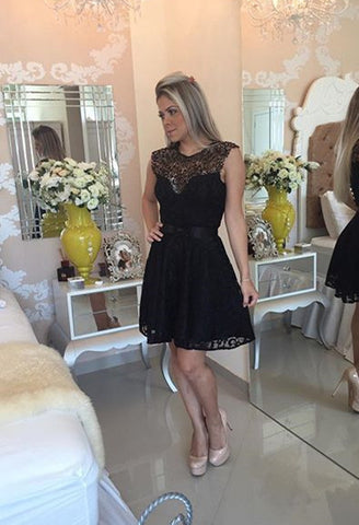 Black Lace Cute Scoop Cap Sleeve Open Back A-Line Homecoming Dresses UK PH357