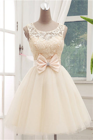 Lace Short Champagne Ball Gown Sleeveless Bowknot Open Back Scoop Homecoming Dresses PM878