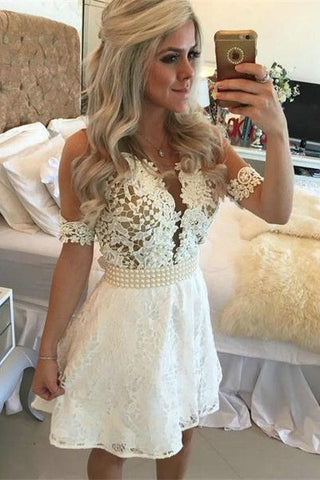 White Lace Beading A-Line Short Lace Formal Dress For Teens V-Neck Homecoming Dress