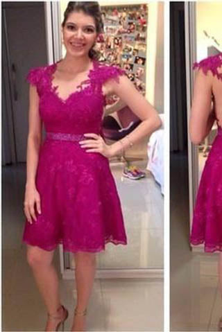 Homecoming Dresses,Lace Homecoming Dress,Fitted Homecoming Dress,Short Prom Dress PM901