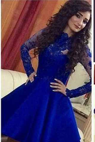 Homecoming Dress,Lace Royal Blue Long Sleeves Homecoming Dress,Short Prom Dresses uk PM918