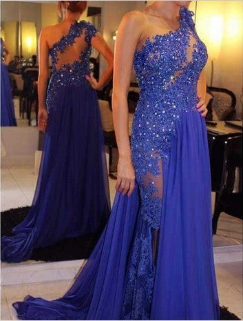 One Shoulder A-Line Long Cheap Prom Dresses,Royal Blue Evening Dress Prom Gowns PH129