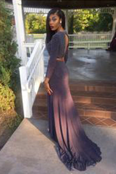 New Arrival Long Sleeve Long Evening Formal Dress,Two Piece Prom Dress,Split Prom Dresses uk PH85