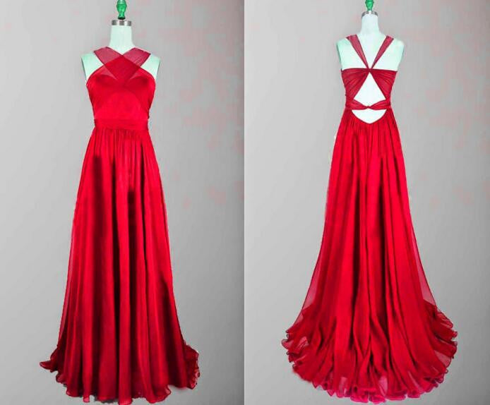 Fashion Red 2017 New Long Open Back Criss Cross Sleeveless Tulle Prom Dresses uk PM946