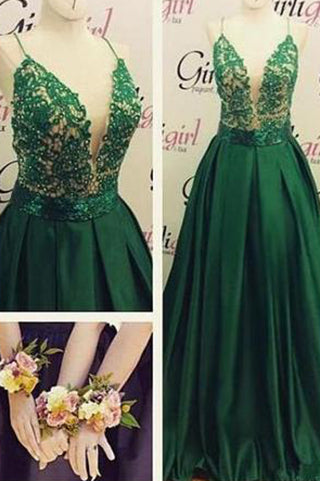 High Quality V-Neck Spaghetti Strap Backless Sexy Green Long Sparkle Prom Dresses uk PM148