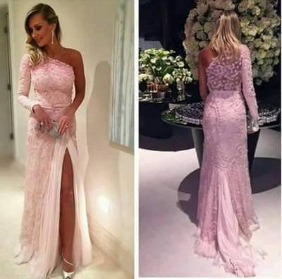 New Prom Dresses Lace One Shoulder Long Evening Dress