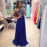 Pretty Royal Blue High Neck A-Line Sleeveless Floor-Length Modest Chiffon Prom Dresses uk PM833