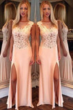 New Arrival Side Split Mermaid Scoop Sexy Sheer Long Party Gowns Women Pageant Dresses uk PH166