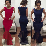 New Arrival Navy Blue Long Chiffon Square Mermaid Prom Gowns Plus Size Women Gown PH108