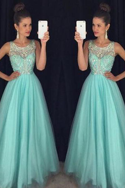 Light Blue Crystal Long A-Line Prom Dress,Halter Prom Dress,Open Back Prom Dress PH121