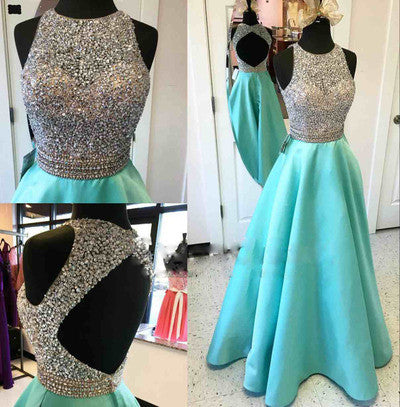 Long A-line Teal Beading Open Back Satin Modest Floor-Length Prom Dresses uk PM154