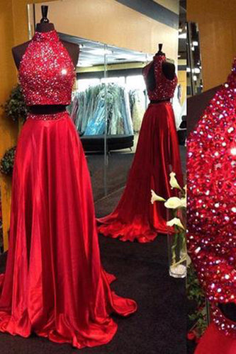Burgundy Two Piece Beading Halter Open Back Carpet Long With Slit Prom Dresses uk PM152