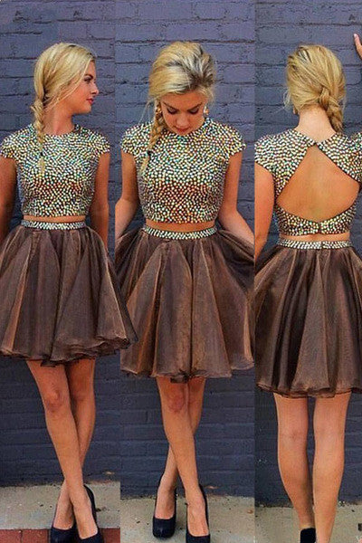 Stylish 2 Piece Jewel Cap Sleeves Short Chocolate Homecoming Dress with Beading Open Back PW397