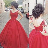 Elegant Ball Gown Cap Sleeve Appliques Sweetheart Lace up Red Long Prom Dresses uk PM999