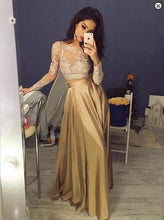 Elegant Long Sleeves Crew Stain Lace Gold Sexy A-line Two Piece Prom Dresses uk PM141