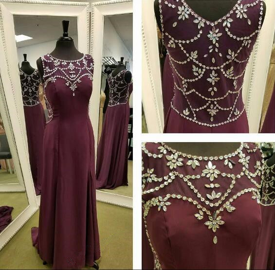 Modest Burgundy Sleeveless Long Chiffon Prom Dress PM388