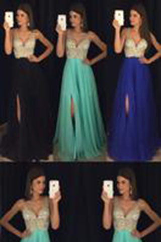 Modest sparkly crystal beaded v-neck open back long chiffon pageant slit Prom Dresses uk PM846