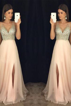 29516ddf581 Modest sparkly crystal beaded v-neck open back long chiffon pageant slit Prom  Dresses uk
