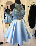 Elegant A-line Jewel Short Halter Sleeveless Satin Beads Light Blue Short Prom Dresses uk PM927