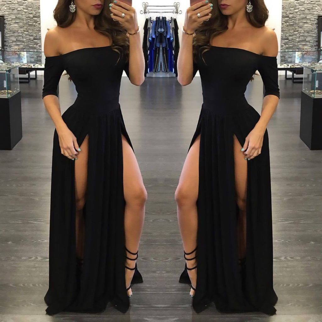 Sexy Black Long Off-the-Shoulder A-Line Half Sleeve Scoop Sexy Slit Prom Dresses uk PM790