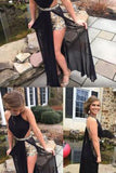 New Style Black Backless Sexy A Line Sleeveless Sequin Beaded Bodice Chiffon Evening Dress PH126