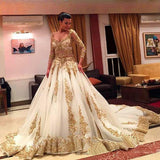 Gold Lace Long Sleeves V-Neck Beading Chapel Train Ball Gown Wedding Dresses,F292