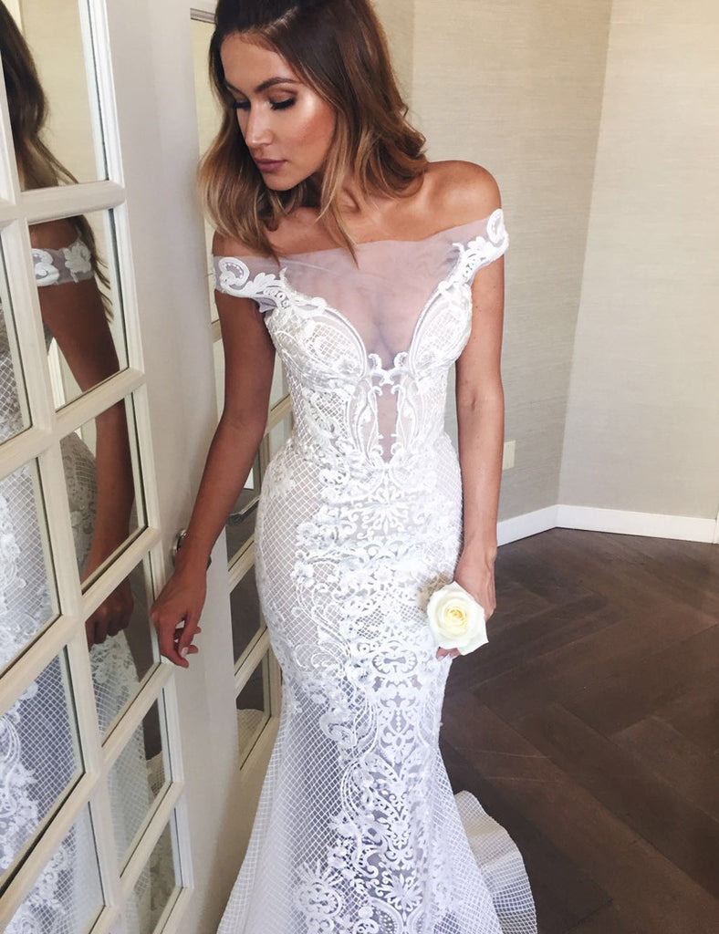 Mermaid Off-the-Shoulder Sweep Train Lace Wedding Dress Wedding Dresses PH256