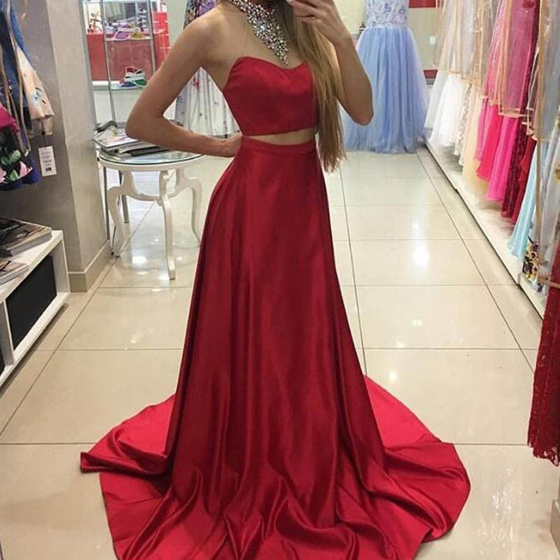 Fabulous Two Piece Red Halter Sleeveless Sweep Train with Beading Prom Dresses uk PM730