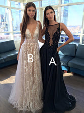 Champagne A Line V Neck Appliques Long Prom Dress PM605