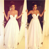 Simple Spaghetti Straps Satin White Long Ruffled Long Graduation Dresses,Wedding Dress PM724