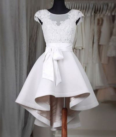 Simple white lace short prom dress,High low homecoming dresses