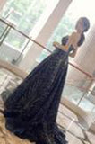 Elegant A-Line Strapless Navy Blue Sparkly Long Prom Dress PM427