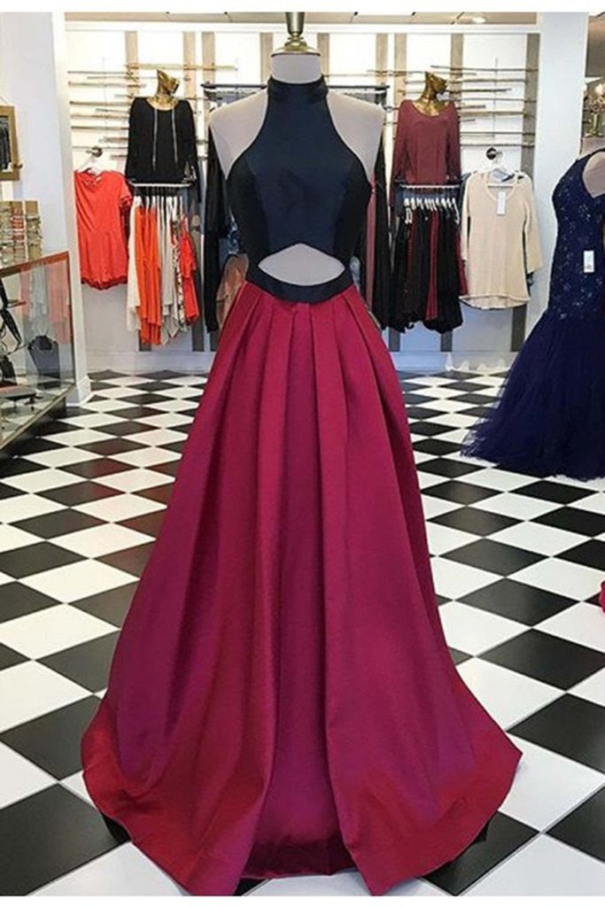 Red chiffon A-line long evening dresses,simple formal dress for graduation