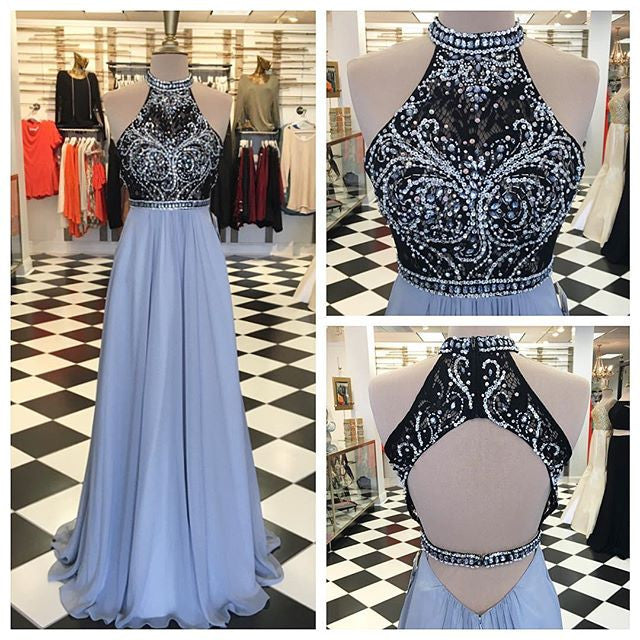 New Arrival Prom Dress,Backless Prom Dresses,2017 Sexy Halter Prom Dress,Long Evening Dress F17