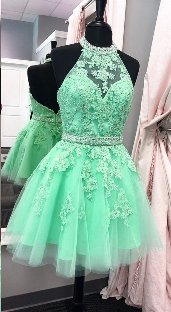 2017 Halter Open Back Appliques Beading Tulle Cute Short Lace Elegant Homecoming Dress
