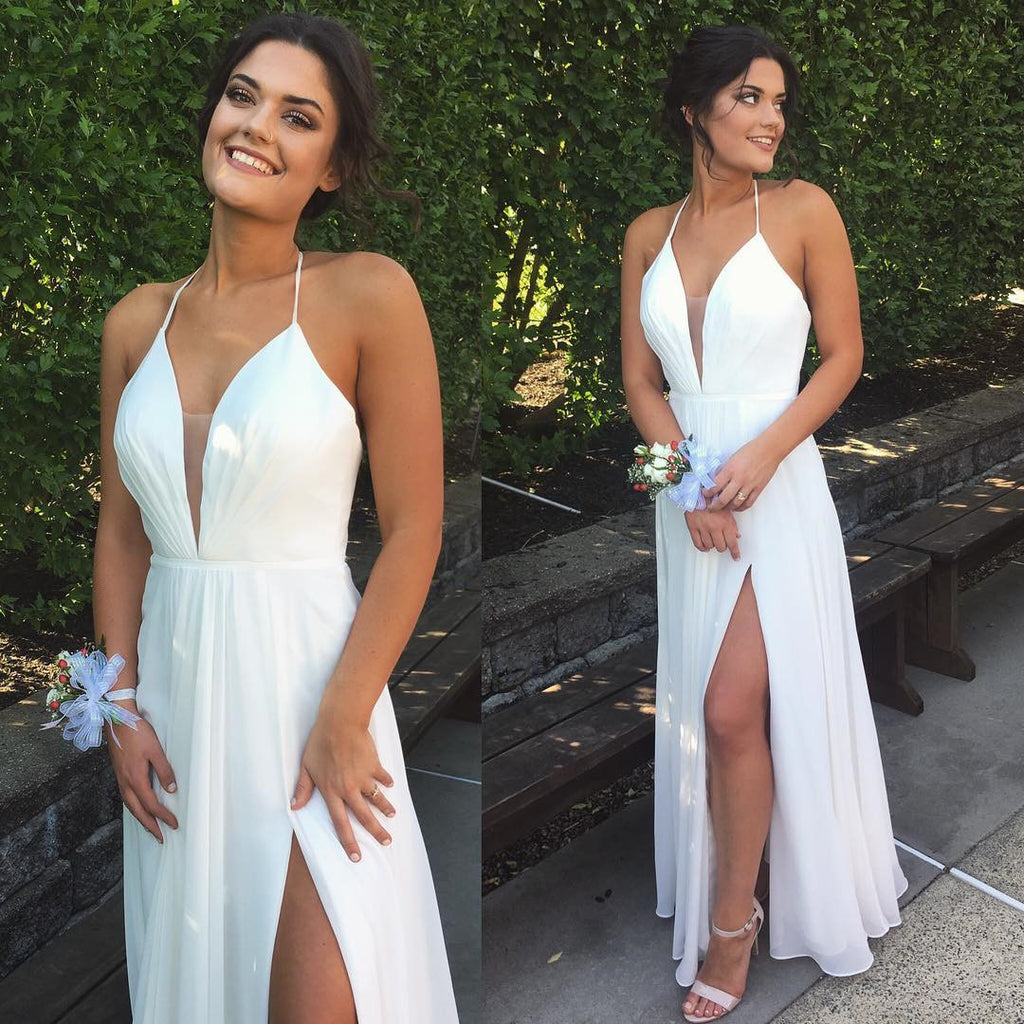 Chic Halter White Split V-neck Backless Prom Evening Gowns P1160