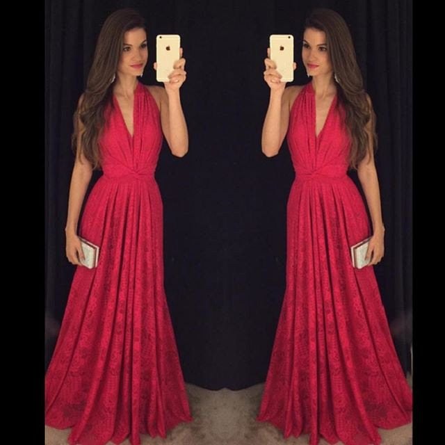 Hot Sexy V-neck Red Prom Dresses/Lace Long Formal Dress PM425