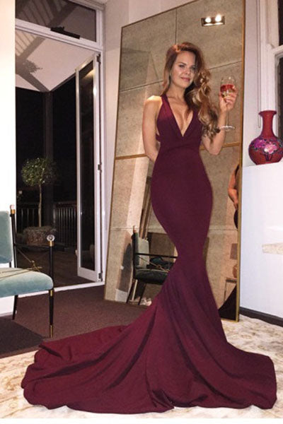Burgundy Mermaid V Neck Backless Sweep Train Prom Dresses PH211