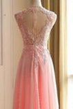 Charming Long Appliques Pink Sleeveless A-Line Scoop Elegant Prom Dresses uk PM782
