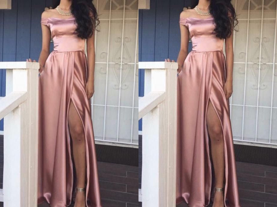 prom dresses,2017 prom dresses fashion pink off the shoulder prom dress,sexy slit evening dress
