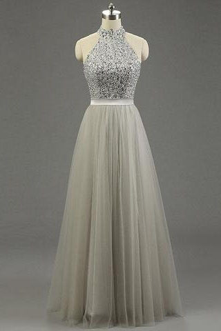 High Quality Long Prom Gown,Tulle Ruffled Bridal Dress,Princess Light Grey Gray Prom Gowns PM671