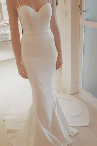 2017 Sexy Spaghetti Straps White Mermaid Custom Made Prom Party Dress,Wedding Dress PM760