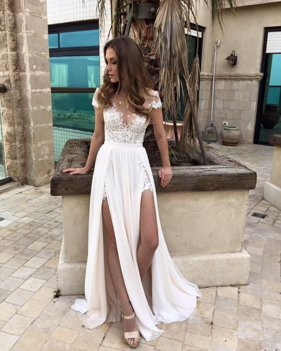 Charming Chiffon Long Formal Off-The-Shoulder Wedding Dress,H45