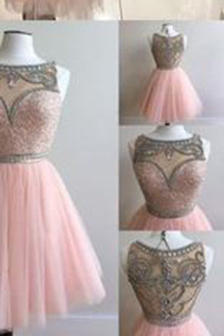 Tulle Short BeadS Cute Sleeveless Elegant Fashion Sexy Custom Made Homecoming Dresses PM436
