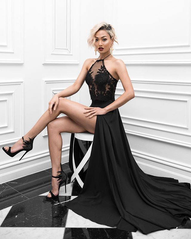 Charming Sexy Prom Dress,Black High Slit Evening Dress,Long Evening Dresses,PM691