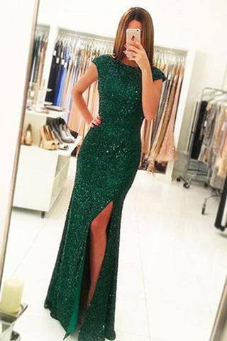 Dark Green Open Back Long Prom Dresses,Sequins,Split Bridesmaid Dress,PM002