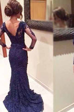 Evening Dress,Mermaid Prom Dress,navy blue prom dress, lace prom dress,BD007