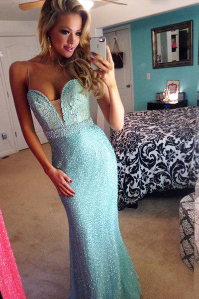 2018 sexy light blue beading sweetheart A-Line long spaghetti straps prom dresses uk PH354