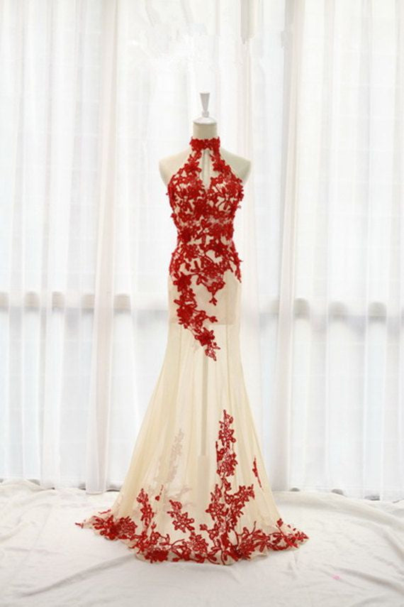 Fashion Prom Dresses,Champagne Prom Dress,Tulle Formal Gown,Red Prom ...